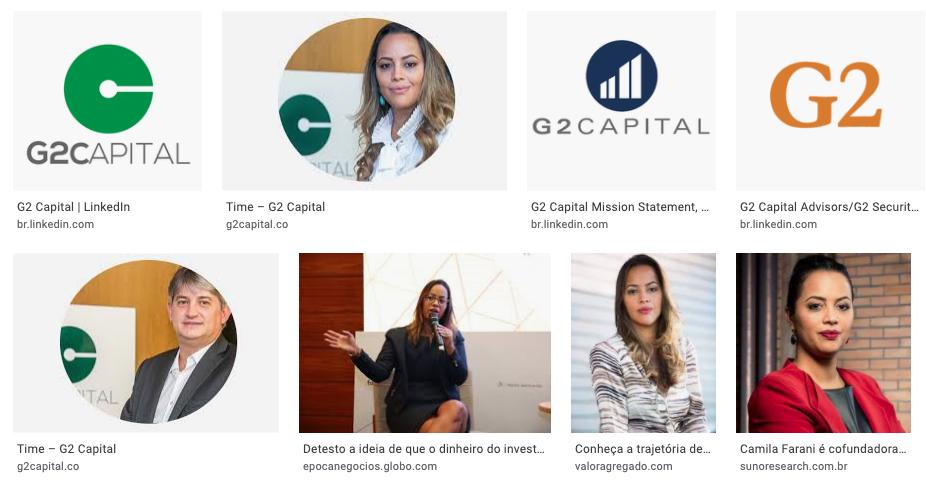 Camila Farani ao lado das logos do seu negócio G2 Capital