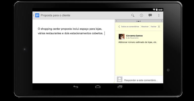 Captura de tela do Google Docs. ferramentas do google