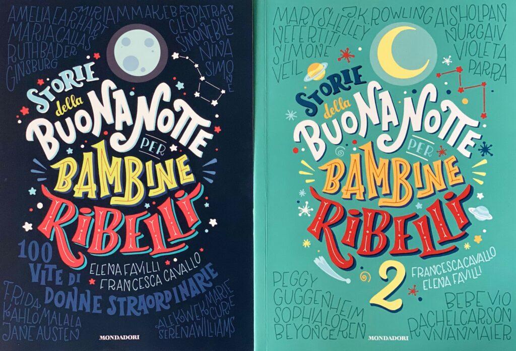 Foto da capa dos livros história de ninar para garotas rebeldes em italiano.