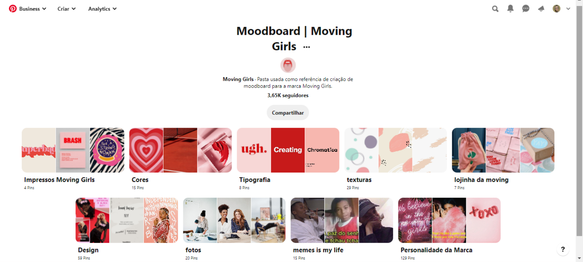 Moodboard Moving Girls no Pinterest