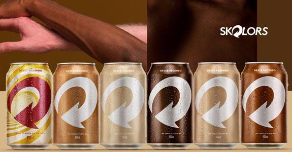 Imagem da campanha Colors da Skol, onde as latas representam a diversidade da cor de pele