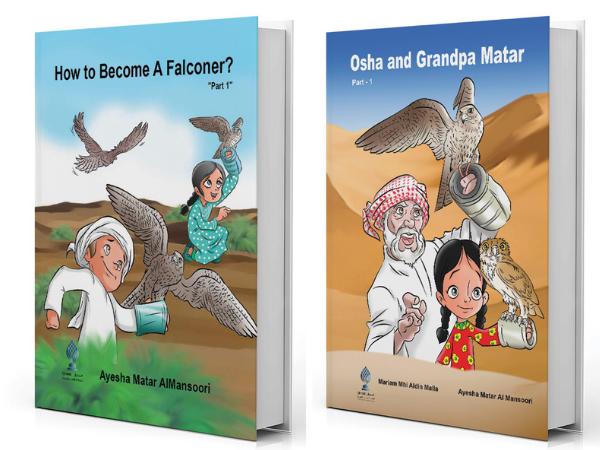 Livros infantis baseados na história de Osha com a falcoaria